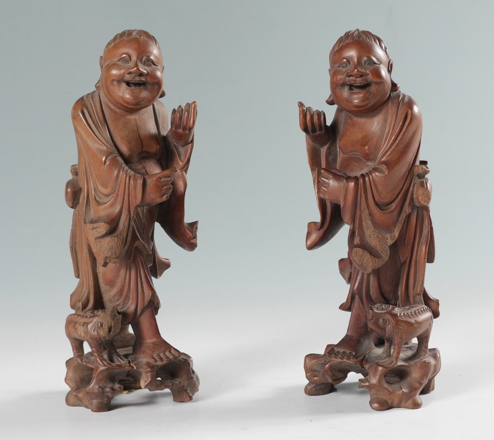 PAIR JAPANESE CARVED WOOD FIGURES