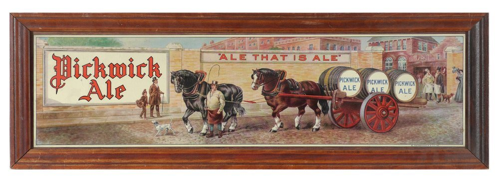 PICKWICK ALE TIN LITHO ADVERTISING SIGN