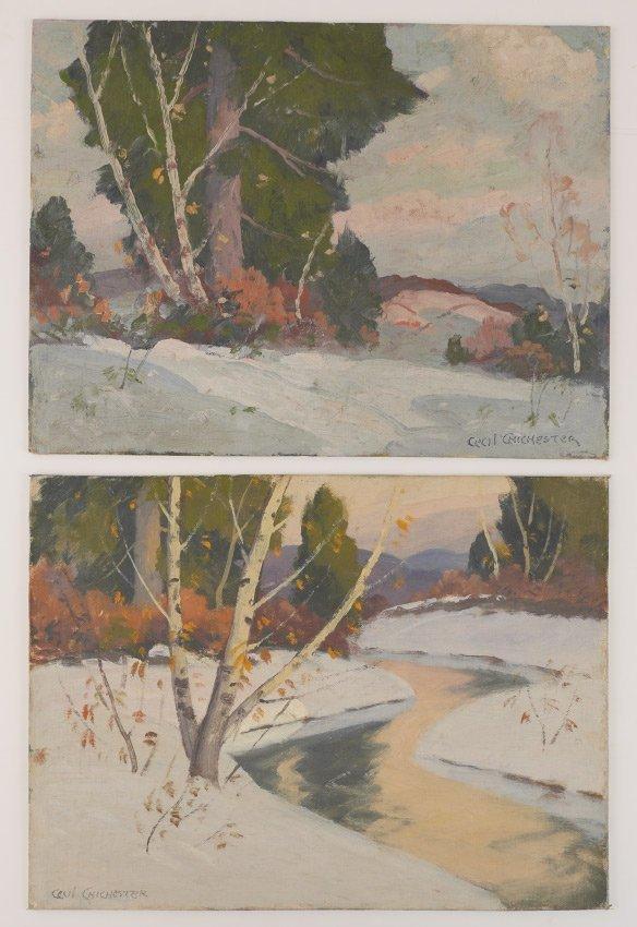 2 CECIL CHICHESTER WINTER LANDSCAPE PAINTINGS