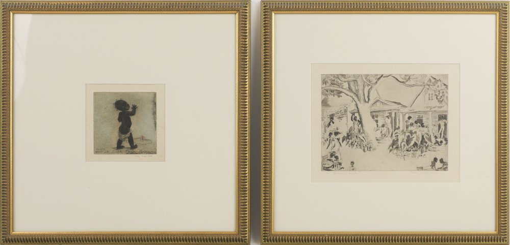 2 FRAMED POLLY KNIPP HILL ETCHINGS