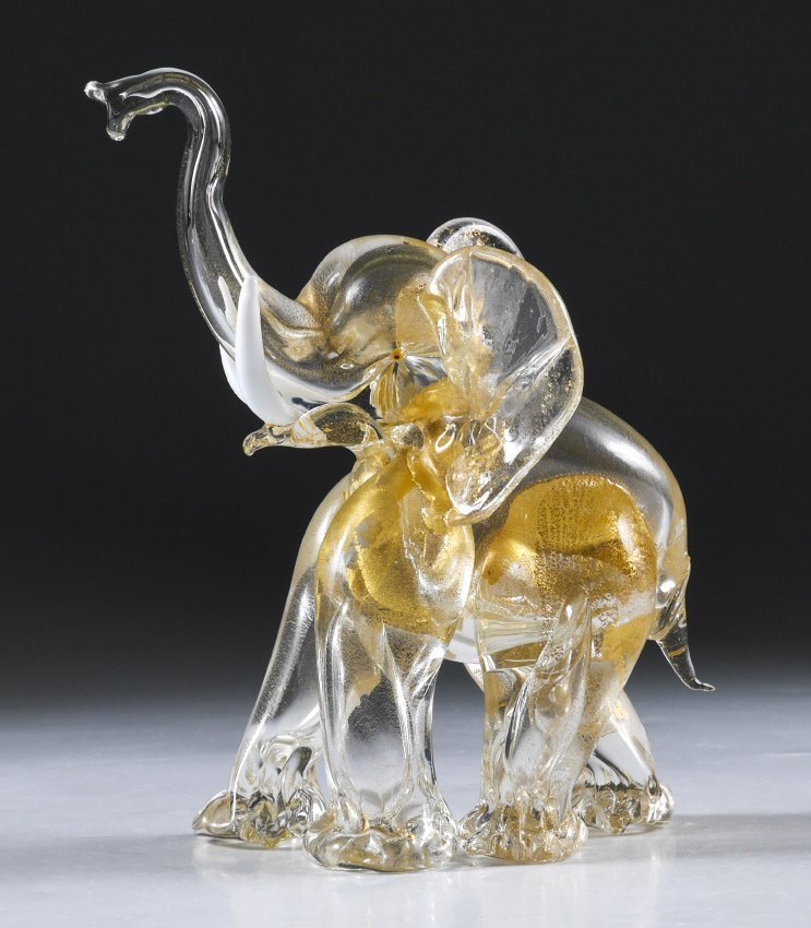 1950'S ART GLASS MURANO AVENTURINE ELEPHANT