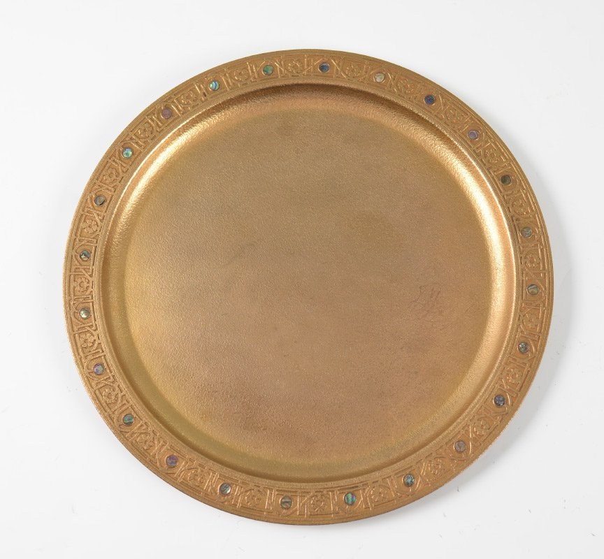 TIFFANY STUDIOS DORE BRONZE ABALONE CHARGER 1728