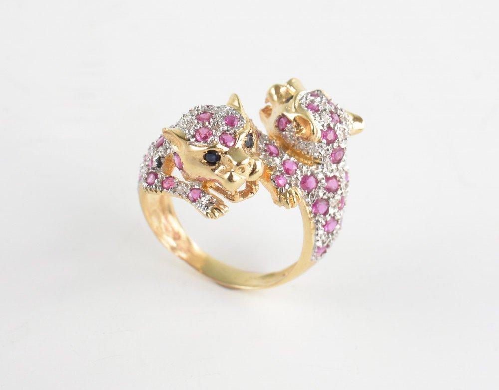 RUBY & DIAMOND LEOPARD BYPASS RING