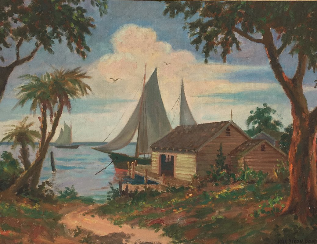 LARGE MARK DIXON DODD TROPICAL DOCKSIDE PAINTING