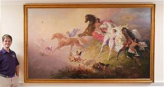 PALATIAL ALLEGORICAL PAINTING, NUDES/HORSES/ANGELS