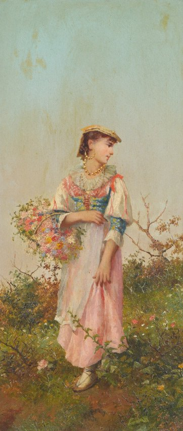 EUROPEAN GENRE PAINTING YOUNG GIRL HOLDING FLOWERS