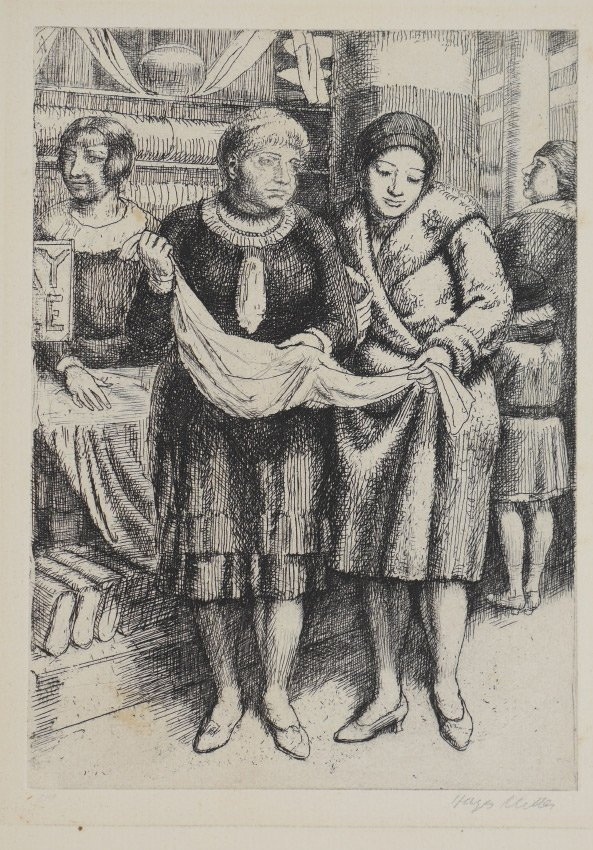 KENNETH HAYES MILLER ETCHING SHOPPING