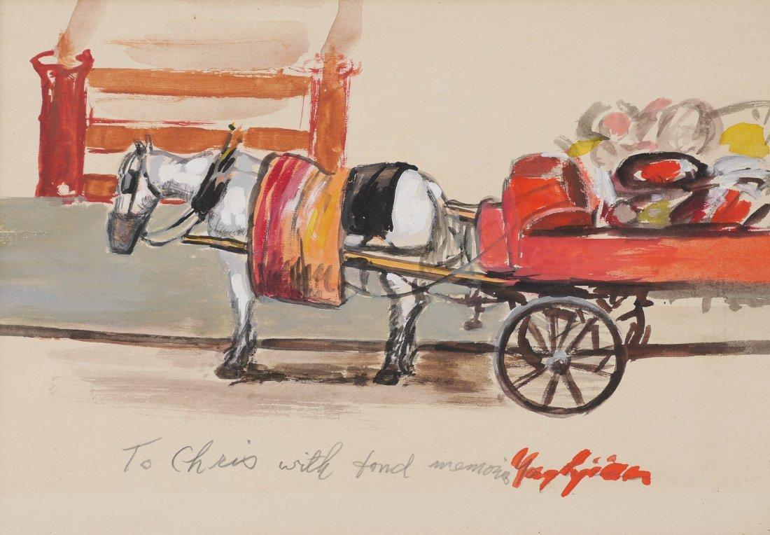 EDMUND YAGHJIAN PAINTING OF A HORSE CART