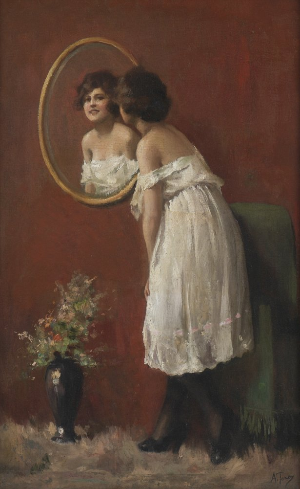 ATTILIO TORO YOUNG BEAUTY IN THE MIRROR PAINTING