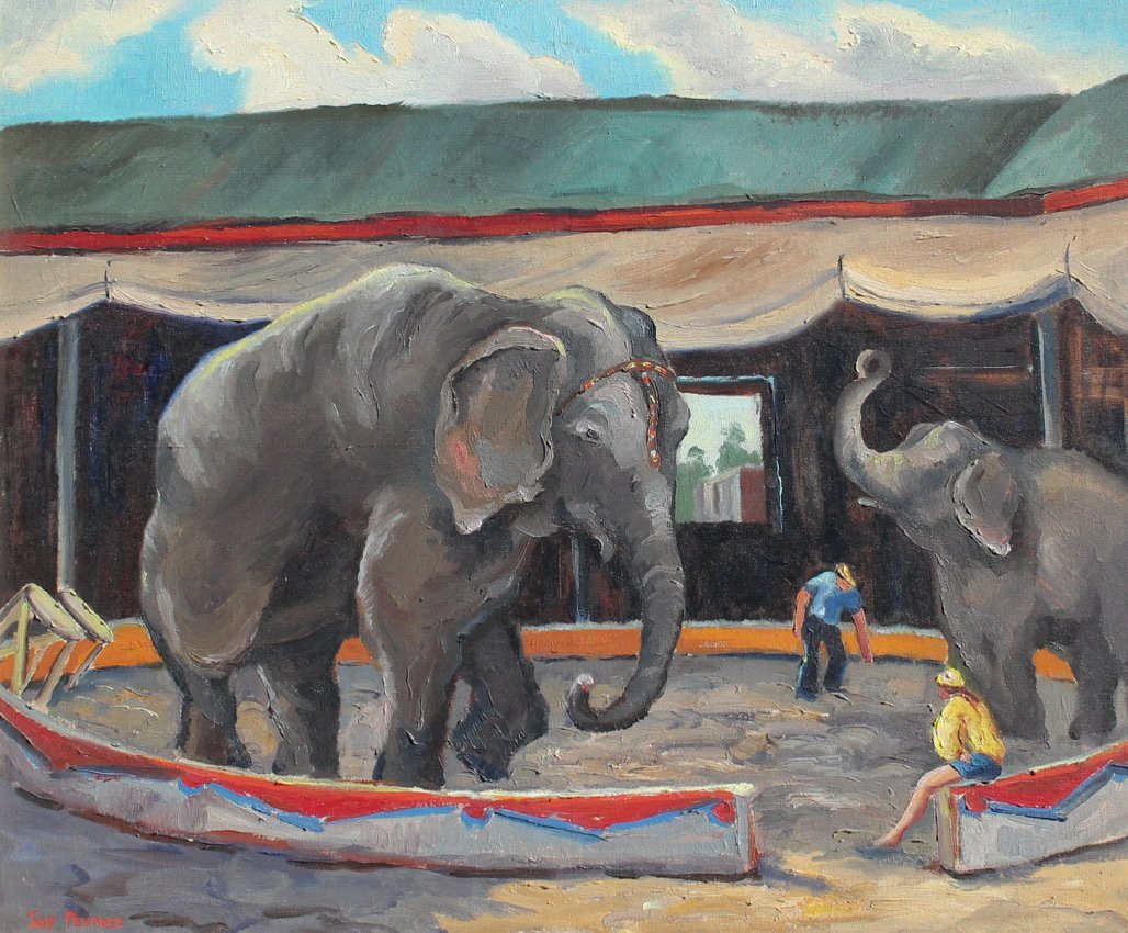 LOUISE JAY PENROSE RINGLING ELEPHANTS PAINTING