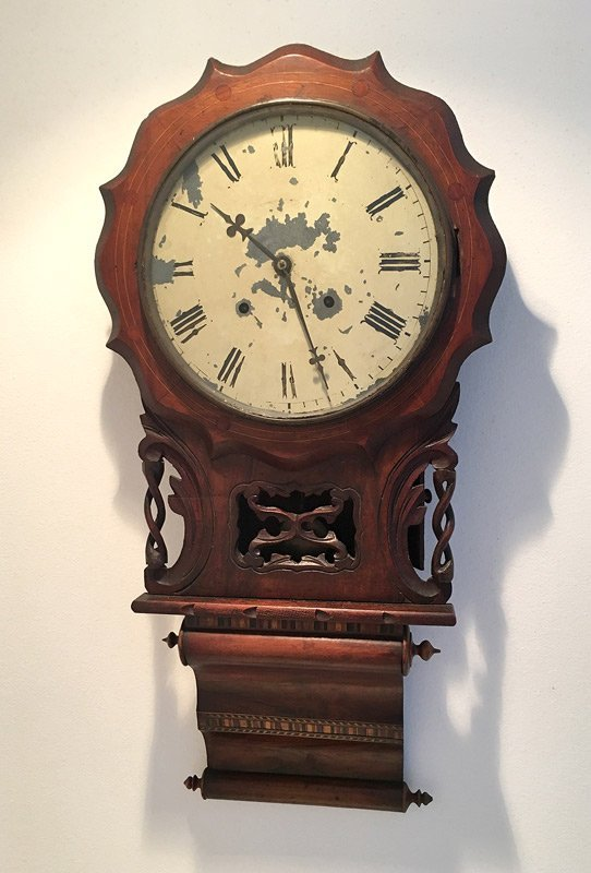E.N. WELCH CARVED & INLAID WALL CLOCK