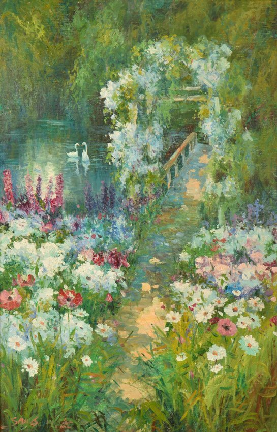 SANG LEE FLOWER GARDEN W/POND & SWANS PAINTING