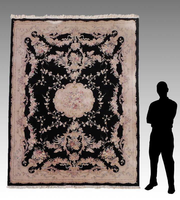 "CHINESE FRENCH AUBUSSON DESIGN H K WOOL RUG 7'8"" x 10'"