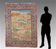 PERSIAN PICTORIAL HAND KNOTTED WOOL RUG 45 x 64