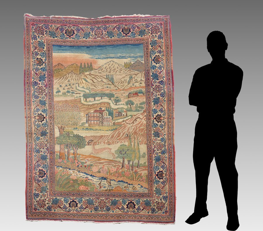 """PERSIAN PICTORIAL HAND KNOTTED WOOL RUG 4'5"""" x 6'4"""""""