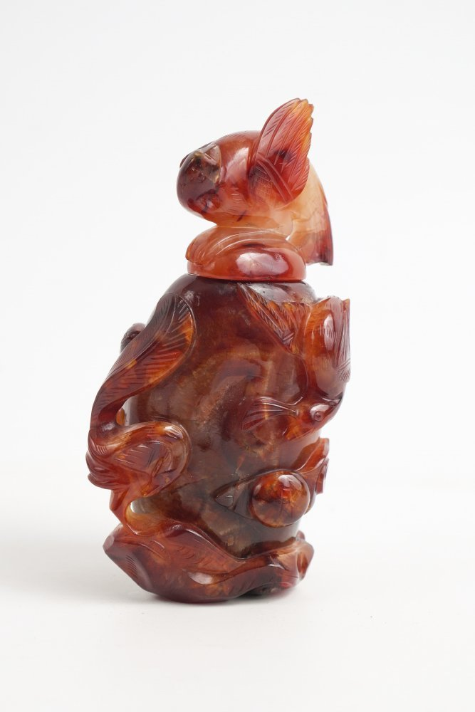 CHINESE CARVED CARNELIAN CENSOR WITH LID
