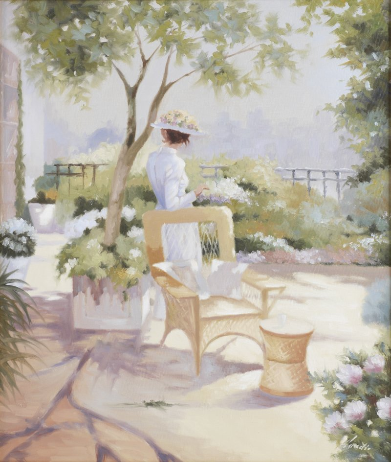 ILLEGIBLY SIGNED PAINTING BEAUTY IN COURTYARD