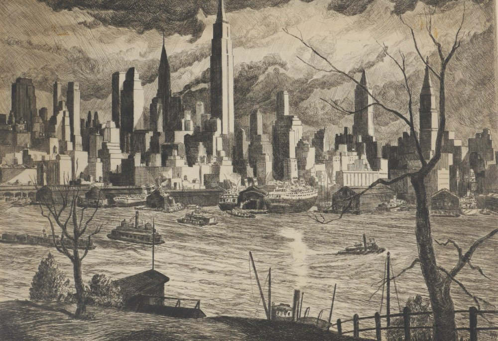 WILLIAM MCNULTY ETCHING OF NEW YORK CITY