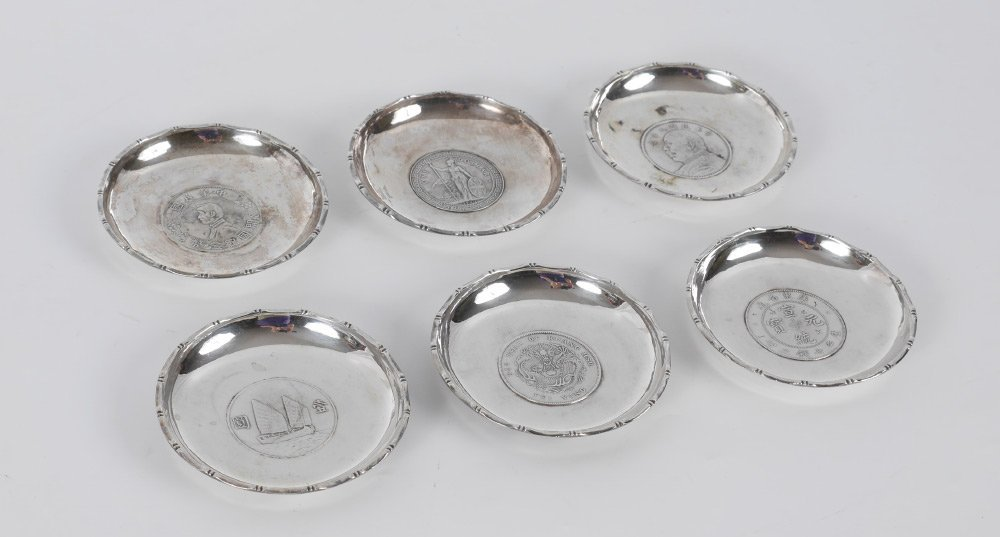 6 WAI KEE SILVER COIN DISHES  12 Troy Oz total