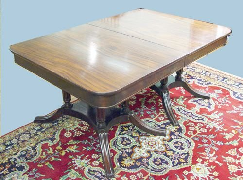 7: DOUBLE PEDESTAL MAHOGANY DINING TABLE