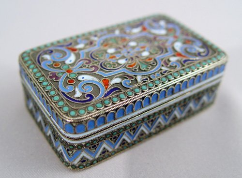 9: RUSSIAN ENAMEL SILVER BOX