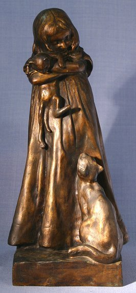 12: EDMOND BADOCHE PERIOD BRONZE GIRL WITH CATS