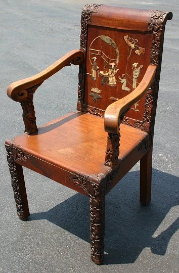 15: CHINESE CHAIR CARVED AND INLAID