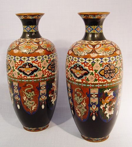 16: PAIR OF JAPANESE CLOISONNE VASES