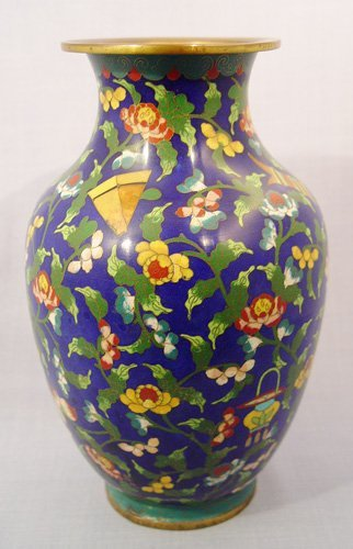 18: JAPANESE CLOISONNE VASE BUSY ALL OVER DESIGN