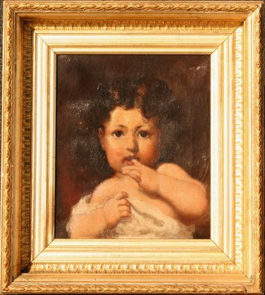 23: 19TH C CONTINENTAL OIL ON CANVAS OF A YOUNG CHILD