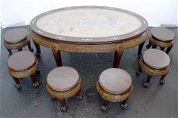 116: CHINESE ORIENTAL CHOW TABLE WITH 6 STOOLS