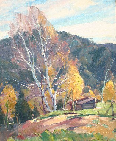 EMILE GRUPPE BIRCHES IN FALL PAINTING