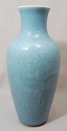 161: NICE 19TH C CHINESE MONOCHROMATIC BLUE DRAGON VASE