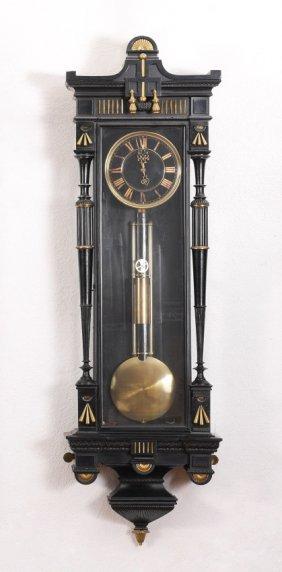 FRENCH EMPIRE EBONIZED REGULATOR CLOCK