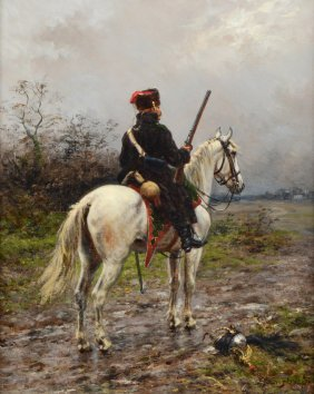 ERNEST CROFTS PAINTING ''A HUSSAR ON GUARD''