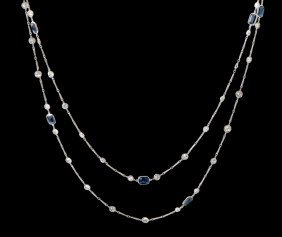 PLATINUM HANDMADE CHAIN WITH DIAMONDS AND SAPPHIRES