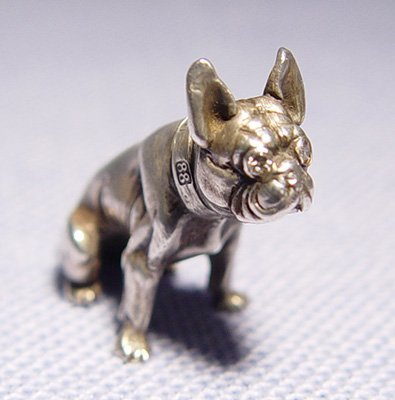 1015: FABERGE MINIATURE SILVER AND DIAMOND DOG