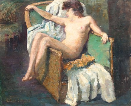 1021: WLADYSLAW BENDA RECLINING NUDE PAINTING