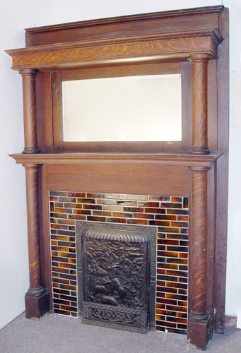 1251: TIGER OAK FIREPLACE MANTLE AND CAST IRON INSERT