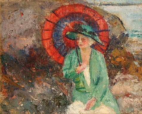 1256: H. VANCE SWOPE IMPRESSIONIST PAINTING PARASOL