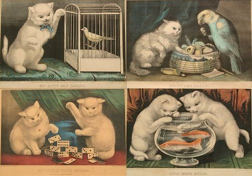 1437: 4 CURRIER & IVES VINTAGE CAT LITHOGRAPHS