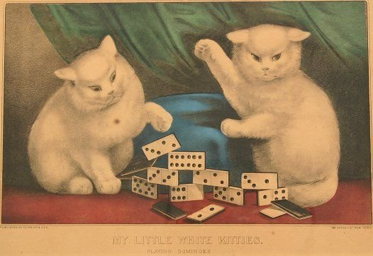 1437: 4 CURRIER & IVES VINTAGE CAT LITHOGRAPHS - 2