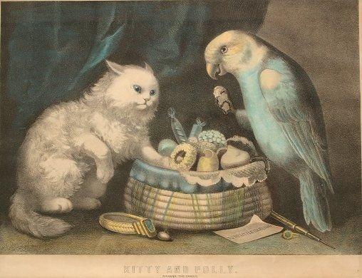 1437: 4 CURRIER & IVES VINTAGE CAT LITHOGRAPHS - 3