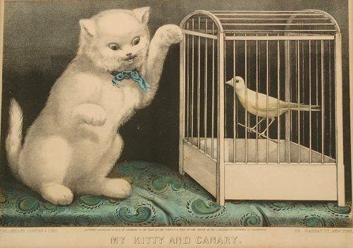 1437: 4 CURRIER & IVES VINTAGE CAT LITHOGRAPHS - 4
