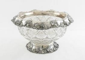 REED & BARTON STERLING MOUNT CUT GLASS PUNCH BOWL