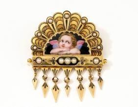19TH CENTURY 15K GOLD ENAMELED VICTORIAN BROOCH