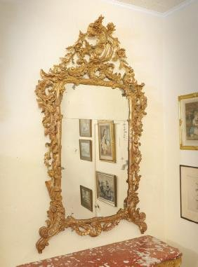 LARGE ANTIQUE ROCOCO STYLE CARVED GILT WOOD MIRROR