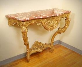ROCOCO CONTINENTAL CARVED GILT WOOD FOYER TABLE