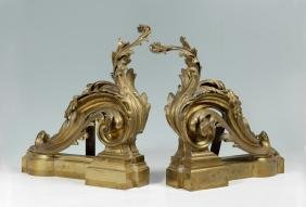 PAIR LOUIS XV STYLE FRENCH BRONZE DORE CHENETS