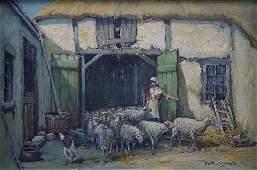 1156: ARTHUR DIEHL SHEEP PAINTING